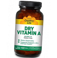 Витамин А, Dry Vitamin A 10000, Country Life